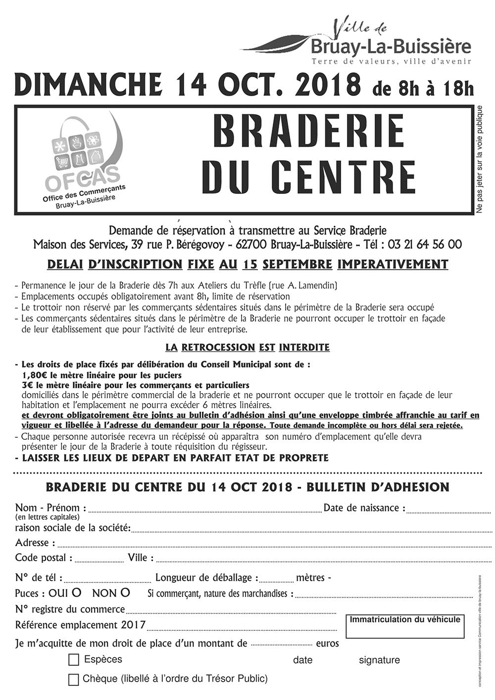 inscription braderie