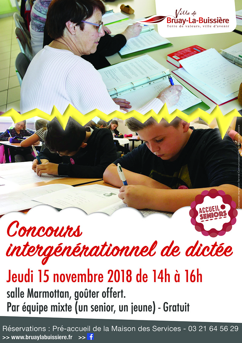 Affiche Seniors Dictée Intergenerationnelle