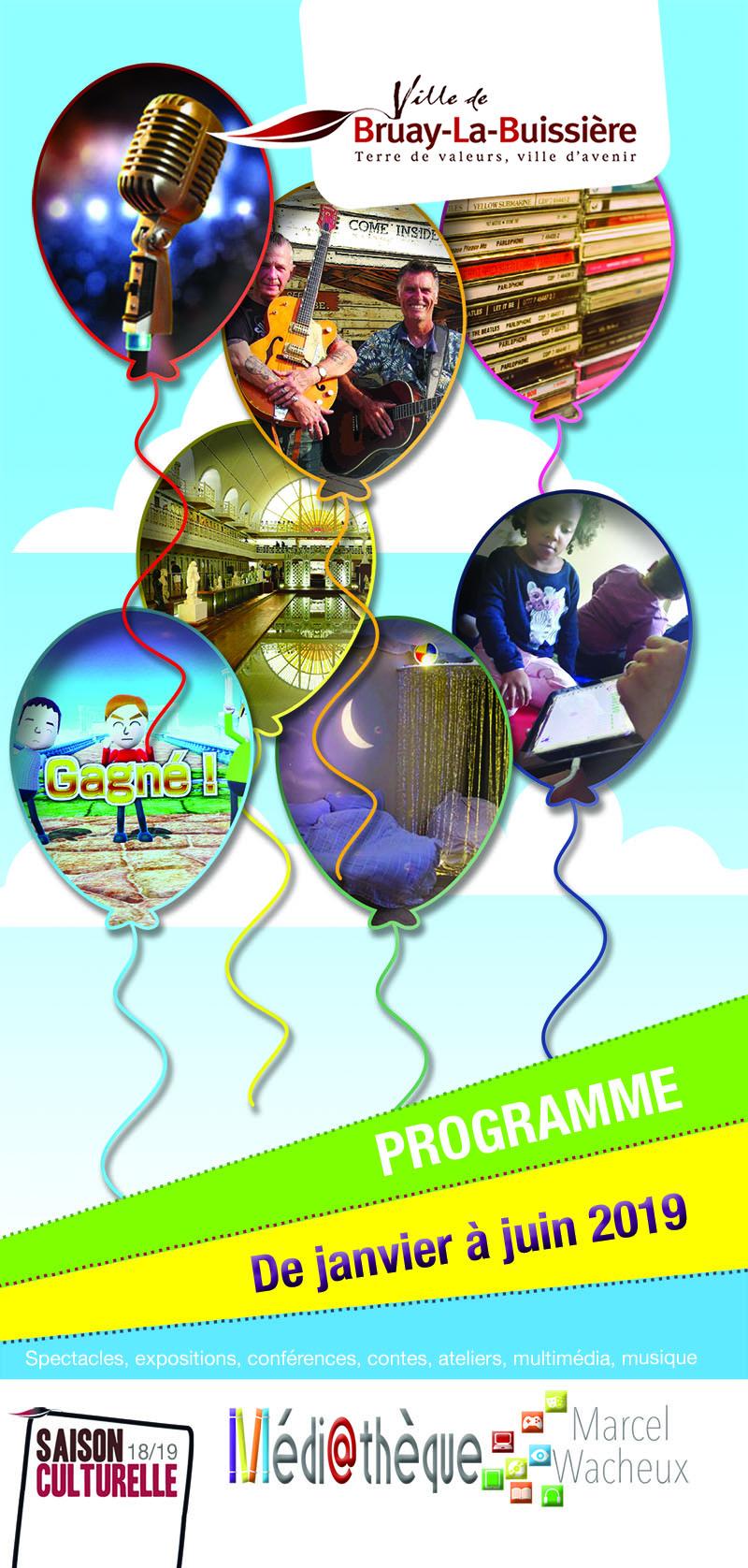 Couverture programme Médiathèque 1e semestre 2019
