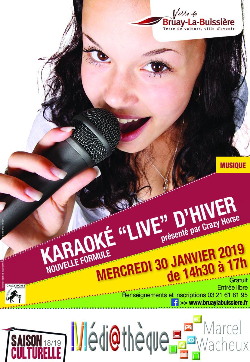 Affiche karaoké live d'hiver