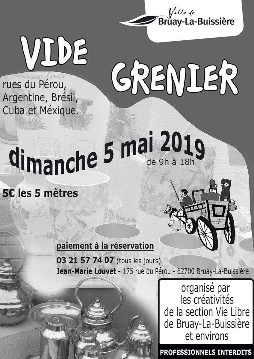 Affiche vide grenier de la section Vie Libre du 5 mai 2019