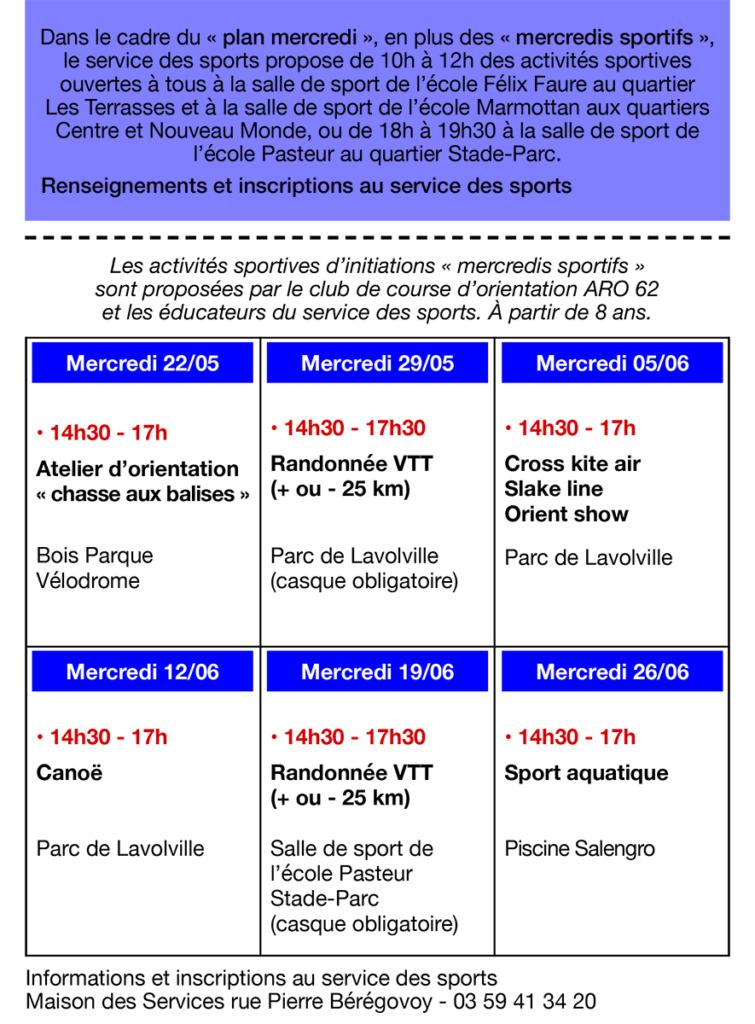 Programme mercredis sportifs de mai à juin
