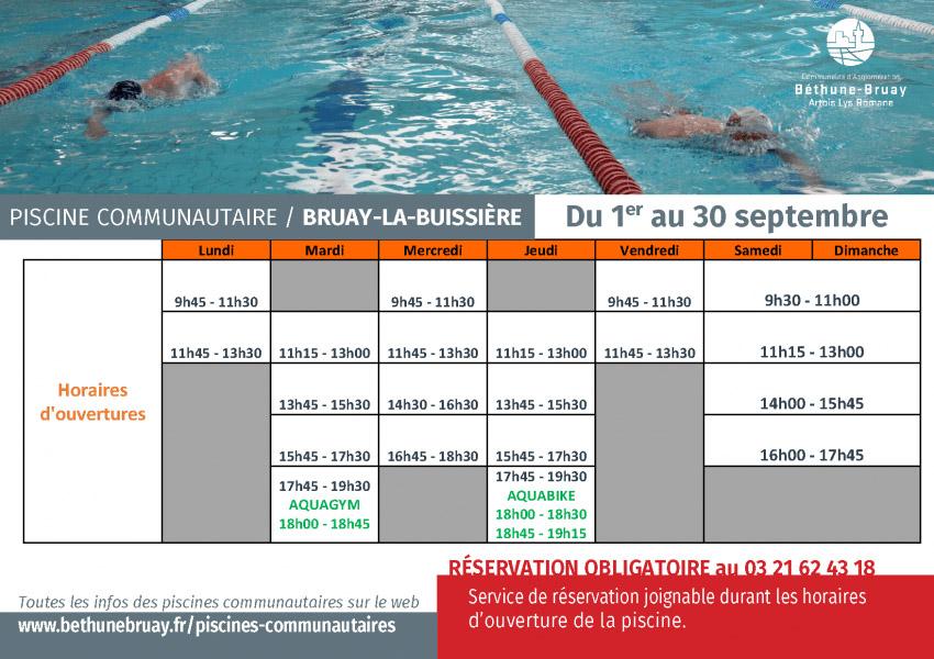 Horaires piscine septembre 2020