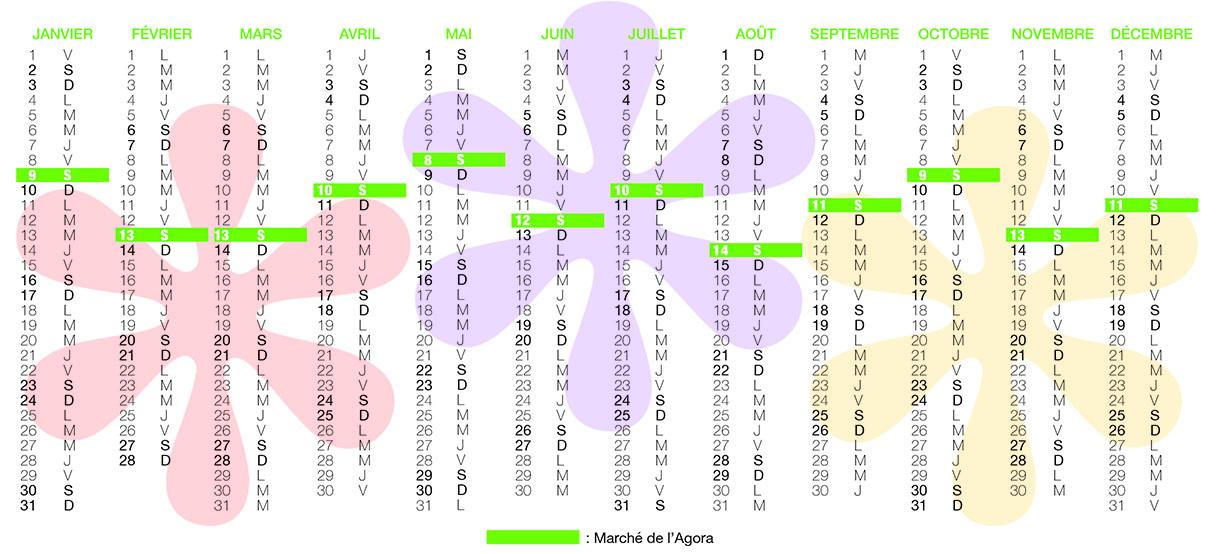 Calendrier du marché de l'Agora Verso