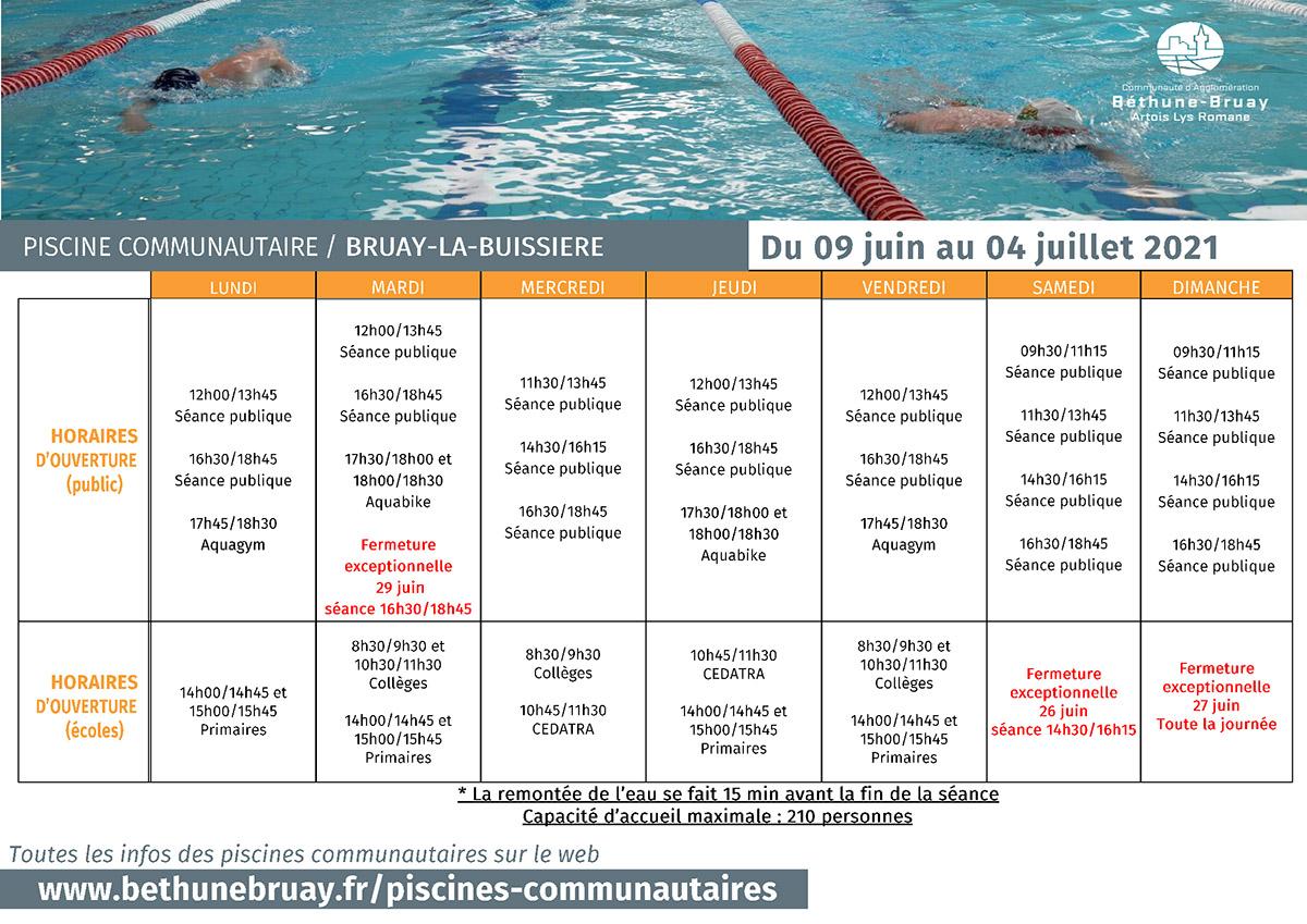 Horaires piscine du 9 juin au 4 juillet 2021
