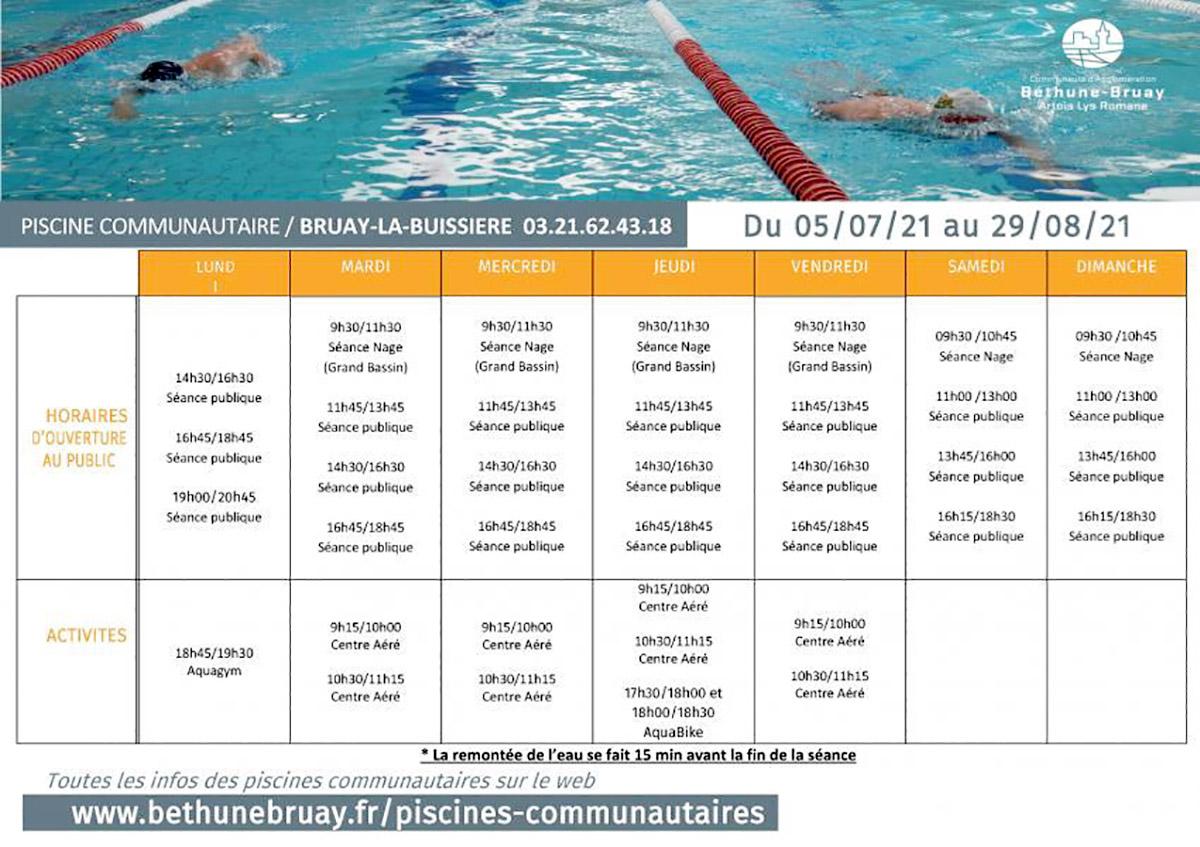 Horaires piscine du 5 juillet au 29 août 2021