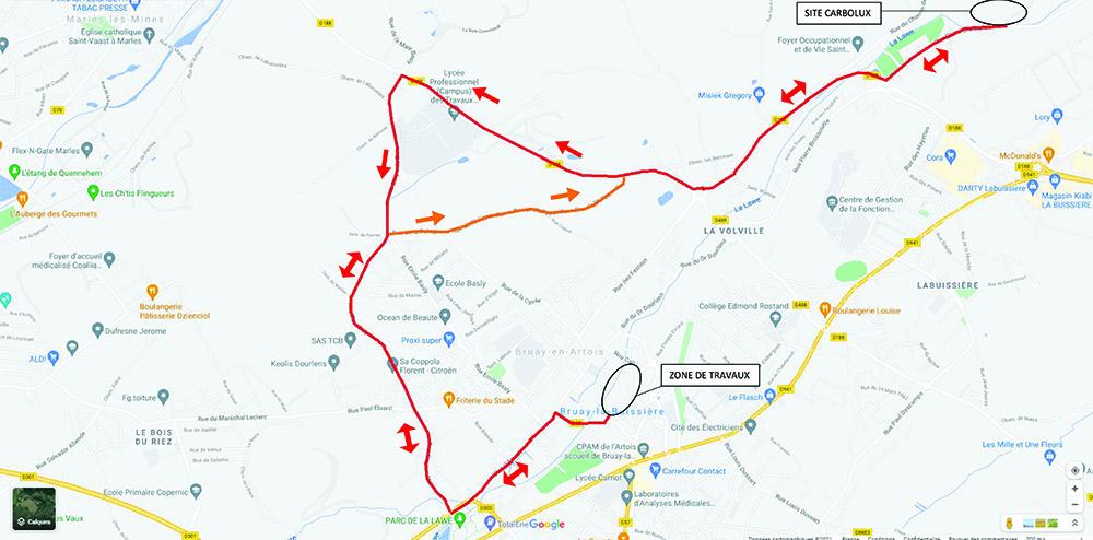 Plan trajet camions Rue Wery